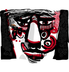 Tribal face artistic drawing vector