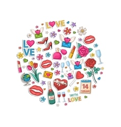 Valentines Day set in the form of a circle vector image vector image