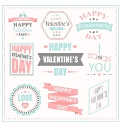 Valentines day set of labels emblems and vector