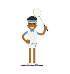 Young black man badminton player with racket vector