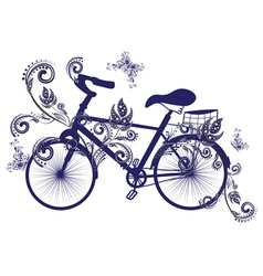 Bicycle and Floral Ornament3 vector image