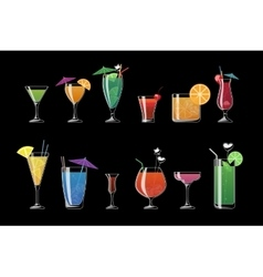 Alcohol drinks and beach cocktails isolated on vector