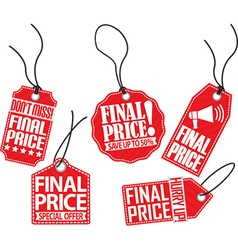 Final price red tag set vector