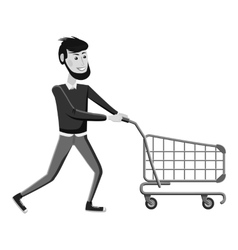 Man with empty shopping cart icon vector
