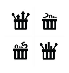 Business shopping cart icon set vector