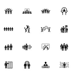 Flat design business team icons set vector
