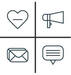 Social icons set collection of bullhorn text vector