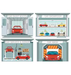 Set of car service station vector