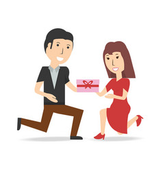 Happy couple lover with present gift vector