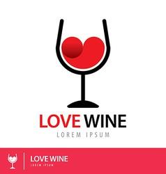 Love wine logo vector image