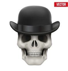Human skull with black bowler hat vector