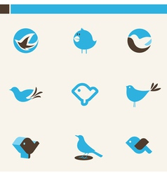 Blue birds - icon set vector
