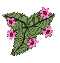 Doodling hand drawn amazing flowers like gloxinia vector