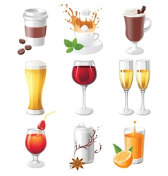 9 highly detailed drinks icons vector image