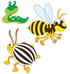 wasp potato beetle and slug vector image
