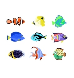 Tropical fish icons flat style vector