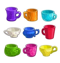 Funny cartoon colorful tea and coffee cups vector