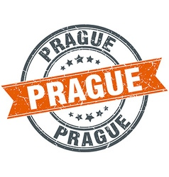 Prague red round grunge vintage ribbon stamp vector