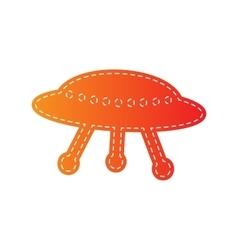 Ufo simple sign orange applique isolated vector