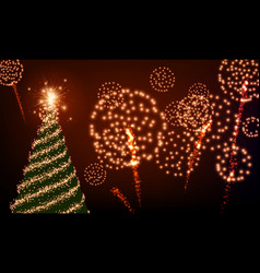 Background with christmas tree and fireworks vector