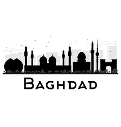 Baghdad City skyline black and white silhouette vector image vector image