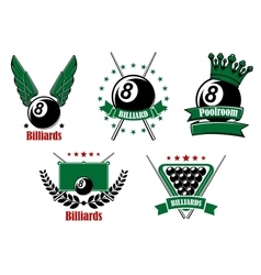 Billiards and pool emblems with cues vector image