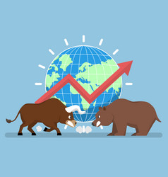 bull and bear with world and graph in background vector image