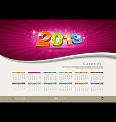 Calendar 2013 new year design vector image vector image