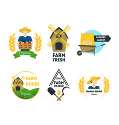 cartoon farm labels set vector image vector image