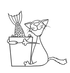 Cat hugging a bucket of fish vector