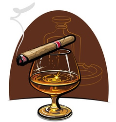 Cognac and cigar vector
