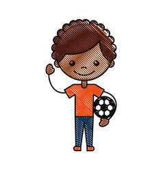 Cute african boy with soccer balloon character vector