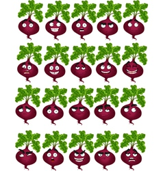 cute cartoon beetroot smile with many expressions vector image vector image