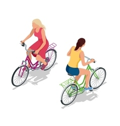 Cyclists on bikes People riding bikes Bikers and vector image
