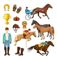 Equestrian cartoon elements collection vector