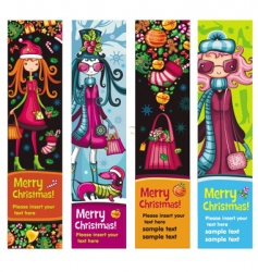 fashion Christmas girls banners vector image vector image
