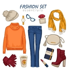 Fashionable clothing girl composition vector