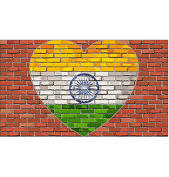 flag of the india in a heart on a brick wall vector image vector image