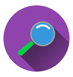 Flat design icon of magnifier in ui colors vector image