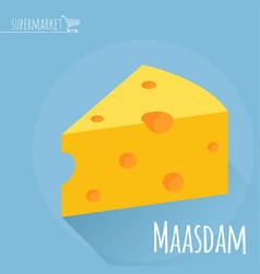 flat design maasdam cheese icon vector image vector image