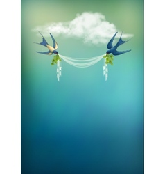 Flying bird swallow card vector