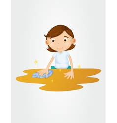 Girl wiping table on white vector