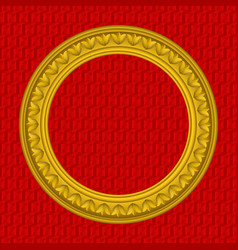 Golden round picture frame vector