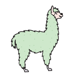 Hand drawn peru animal alpaca vicuna vector