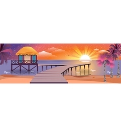 happy sunny summer night at beach vector image