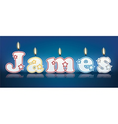 James written with burning candles vector