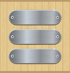 Metal plates on wooden background vector