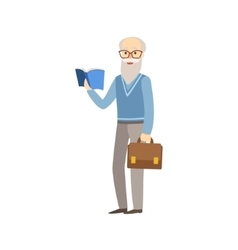 Old professor with book and suitcase vector