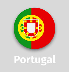 portugal flag round icon with shadow vector image