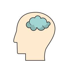 Profile head think brain vector